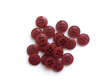 6 Burgundy Red Plastic Buttons, 10mm