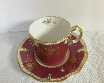 Royal Crown Derby Tea Cup and Saucer; Demi  circa 1940 plus     #DSC