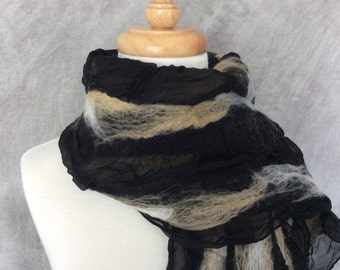 Nuno Felted Scarf Felted Wool and Silk Black and Tan