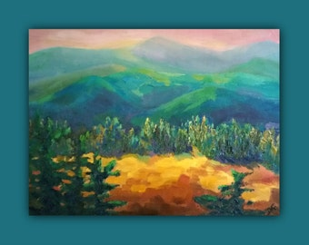 """Oil Painting """"HILLS COUTURE"""" Original Oil Painting not a print, hills, trees, colorful, color, mountains, landscape, signed by the artist"""