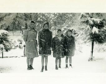 "Vintage Photo ""Walking to School in the Snow"" Snapshot Antique Photo Old Black & White Photograph Found Paper Ephemera Vernacular - 122"