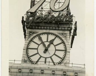 "Vintage Photo ""76 Gasoline"" Architecture Clock Interior Design Mood Canada Letter Sign Signage Old Black & White Snapshot Vernacular - 28"