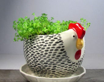 Hen planter with overflow saucer Mother's Day  Ready to ship
