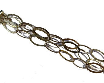 Vintage Sterling Silver Hammered Oval Rolo 26 MM Triple Chain Bracelet - 6-3/4 inches #2199