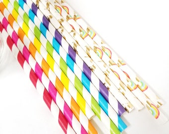 Rainbow and Unicorn Paper Straws - Gold Straws - Set of 25