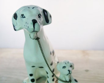 Vintage Dalmatian Dogs Mother and Puppy Connected with Chain Hand Painted Black and White Ceramic Made In Japan Myrtle Beach Souvenir