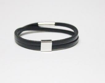 Unisex Double Band Leather Bracelet (Black)
