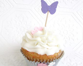 Purple Butterfly Cupcake Toppers, Sparkly Purple Toppers, Baby Shower, First Birthday, Butterfly Theme Party, Girls Party, Set of 24