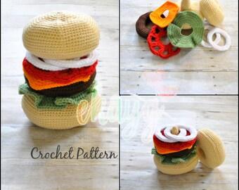 Crochet Pattern, Cheeseburger Stacking Rings