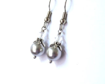 Silver pearl earrings, antiqued silver, steel earwires, crystal and pearl silver grey earrings. Monochrome jewelry