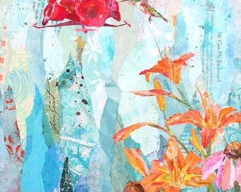 "GARDEN PARTY Original Torn Paper Collage Hummingbird Flower Painting 24 X 12"" on Gallery wrapped canvas"