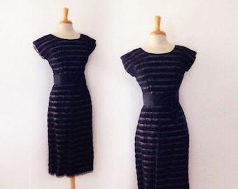1950s black lace and ribbon wiggle dress, size medium