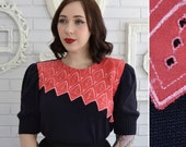 Vintage Black Knit Sweater with Red and Pink Embroidered Linen Neckline Size XS
