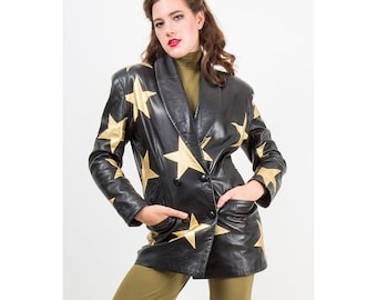 Vintage leather blazer / Gold stars / 1980s fitted double breasted jacket S M