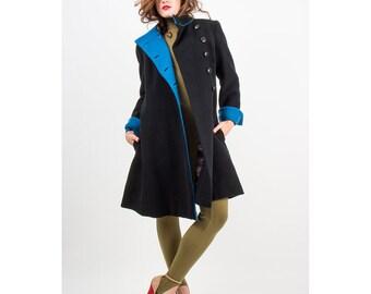 Pauline Trigere / Vintage wool coat / Military styled princess coat / A Trigere coat S M