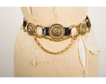 Vintage baroque lion head belt / Leather and gold chain Versace inspired rhinestone belt S