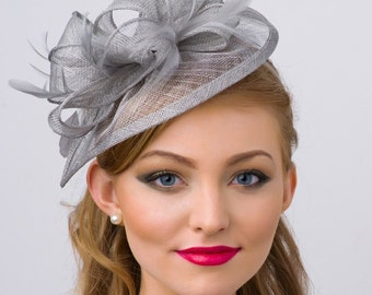 """Gray Fascinator - """"Penny"""" Mesh Hat Fascinator with Mesh Ribbons and Gray Feathers"""