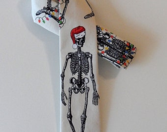 Holiday Skeleton Skinny Tie // Tacky Christmas, Cotton & Silk Necktie
