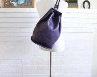Vintage Coach Backpack Sling Bucket Bag 9929 Purple // Leather Drawstring Duffle Purse // Slingback 9929 Excellent Condition