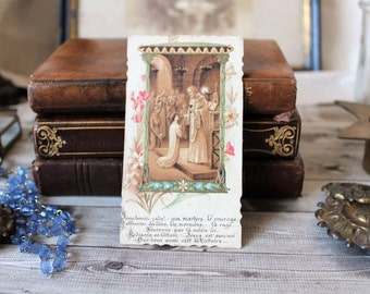 French antiques pious image communion 1939 prayer collection religious catholic french country cottage
