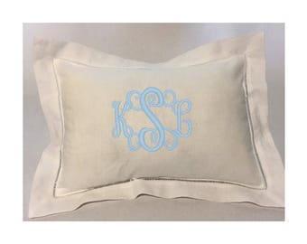 Monogrammed Pillow - Linen Hemstitched - Heirloom Baby Gift - Baby Gift - Perfect for Baby's Nursery - Wedding Gift