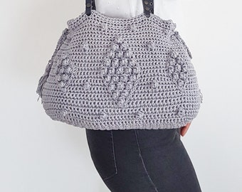 Gray Shoulder Bag Hand Bag Leather Bag  Handmade Bag Leather purse Tote Bag Summer Bag- Gift For Her Christmas Gift Crochet Tote