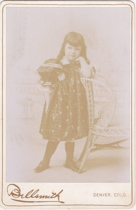 Faintly Smiling- 1800s Antique Photograph- Victorian Girl- Denver, Colorado- Cabinet Photo- Floral Dress- Sepia Portrait- Paper Ephemera
