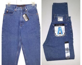 Guess what ... vintage 90s Guess jeans / 1990s mom denim / high rise waist waisted / deadstock NOS ..  28/30 26 27 waist
