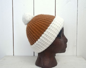 Knit Pom Pom Beanie - 1980s Retro White Beige Rolled Brim Hat - Vintage Slouchy or Fitted Winter Hat - Small S / Medium M