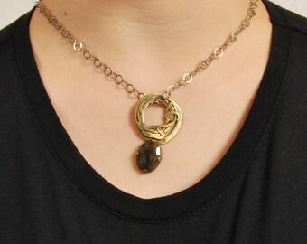 Bohemian Gold Pendant Necklace, Tribal Large Brown Sapphire Gem Stone Necklace, Boho Silver Brass Brown Stone Necklace, September Birthstone