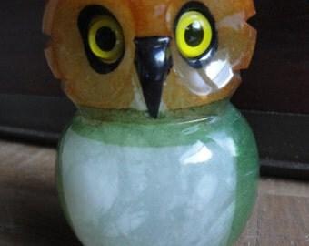 Vintage Ducceschi Green Carved Alabaster Owl Sculpture
