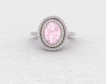 Pale Pink Morganite Ring Oval and Diamond Double Halo Setting Morganite Engagement Ring LCDH005