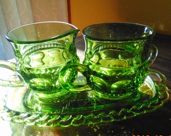 Avocado Green Indiana Glass King's Crown Cream and Sugar  Pitcher with Tray
