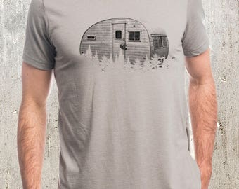 Retro Camper and Forest T-Shirt - Screen Printed Men's Tee - Heather Stone