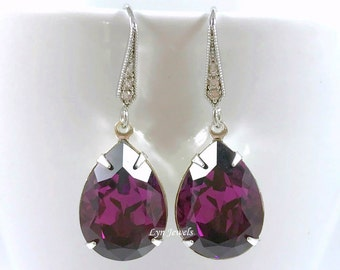 Amethyst Earrings, Bridesmaids Purple Earrings, Plum Wedding Swarovski Crystal Amethyst Teardrop Earrings, Prom Earrings