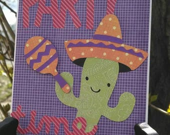 Party Time Cactus Happy Birthday Card