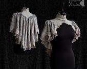Capelet Victorian, Steampunk shrug, Art Nouveau, grey taupe mauve,  Somnia Romantica,size small, see item details for measurements