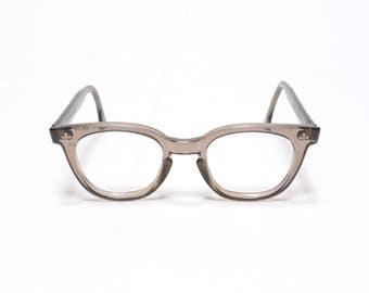 vintage 50s 60s eyeglasses wayfarer safety glasses gray clear plastic frames Airco USA 1950 1960 eyewear
