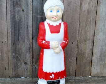 Vintage Don Featherstone Mrs. Santa Claus Christmas Blow Mold Outdoor Light Up Lawn Decoration Red White Working Cord Union Plastics 1990's