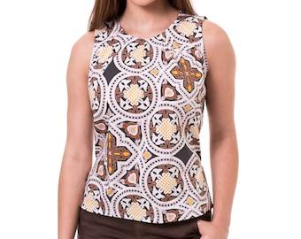 Brown white tank top Printed womens blouse Retro women tank top Sleeveless women shirt
