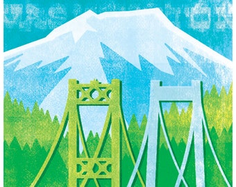 Tacoma Poster - Tacoma Print - Tacoma Wall Art - Tacoma Narrows Bridges - Art Print