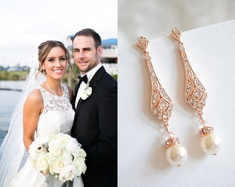Wedding Earrings, Rose Gold Bridal Earrings, Swarovski Pearl Drop Dangle Earrings, Stud Earrings, Old Hollywood Wedding Jewelry, TRISSIE