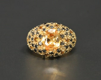 Citrine & Sapphire Gold Sterling Ring Size 8.5