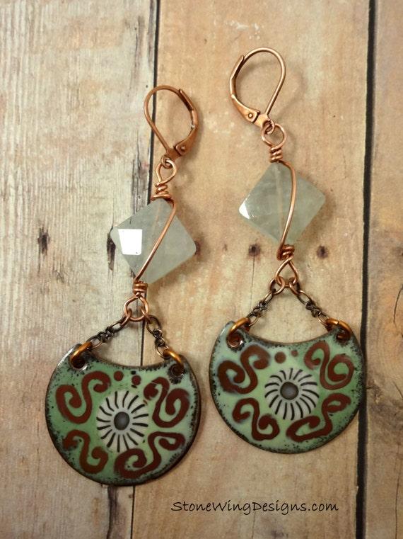Enamel and Prehnite Earrings, Artisan Enamel Components, Green and Brown, Prehnite & Artisan Enamel Earrings, Artisan Earrings, OOAK