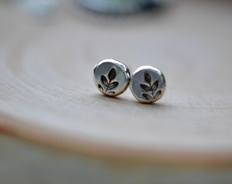 Small silver studs, stud earrings , leaf earrings, stamped studs, sprout earrings