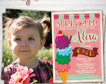Ice Cream Birthday Party w/Photo, Sprinkled with Love, Here's the Scoop,Summer Party Any Age Birthday,Digital Download/Prints(Details Below)