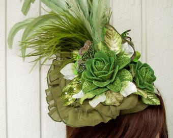 Fascinator (F711) Races and Kentucky Derby and Wedding Mini Hat, Green Colors, Handmade Rosettes and Butterfly, Swarovski Crystals