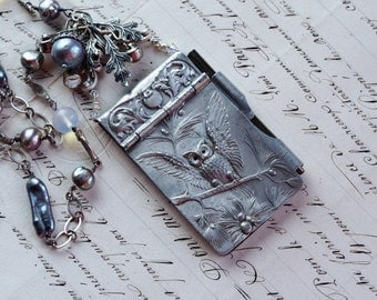 Night Owl- Vintage Assemblage Necklace- Notepad Chatelaine- Freshwater Gray Pearls, Moonstones, Rhinestones, Silver, - One of a Kind