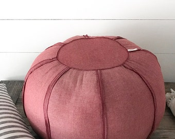 "Cotton  XLarge 24"" Pouf/Ottoman, Floor Pillow"