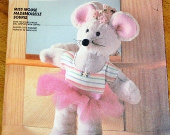 Vintage 1980s Craft Sewing Pattern McCall's 2866 845 Plush Ballerina Mouse Stuffed Soft Sculpture Plushie Doll with Tutu Uncut Factory Folds
